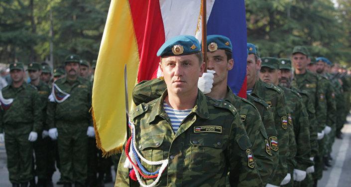 Репетиция военного парада, посвященного Дню независимости Южной Осетии