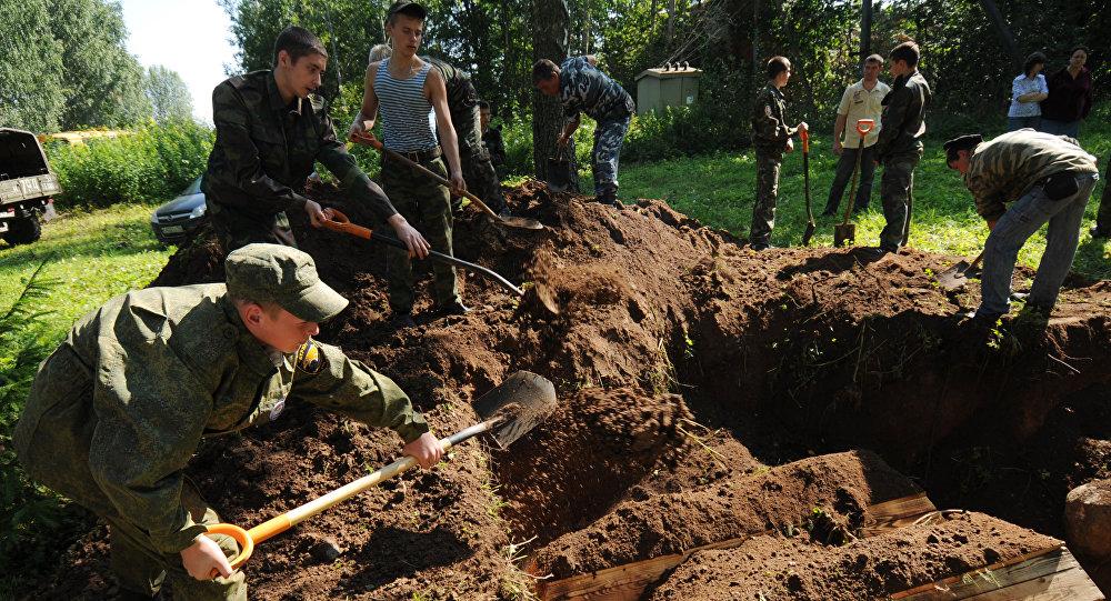 Перезахоронение солдат ВОВ на воинском кладбище