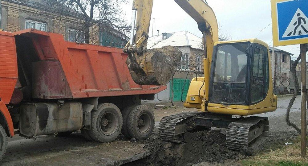Строительство на улицах Цхинвала