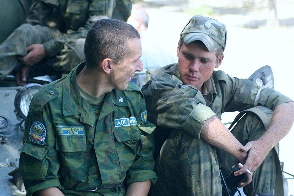 Миротворцы ССПМ в Южной Осетии в августе 2008 года.