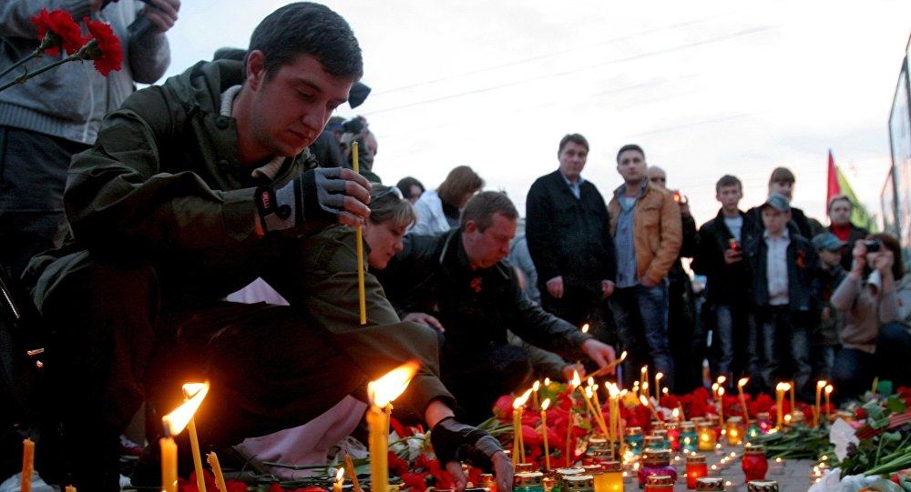 Акция памяти погибших  в Донецке
