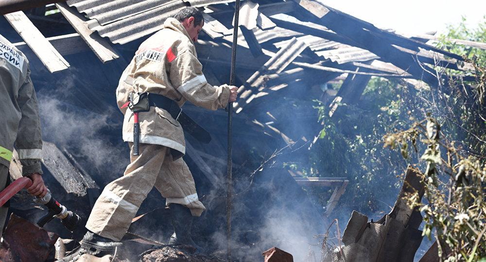Пожар по ул. Тельмана в Цхинвале