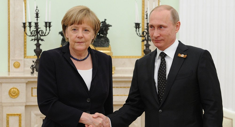 Президент России В.Путин и канцлер Федеративной Республики Германия А.Меркель