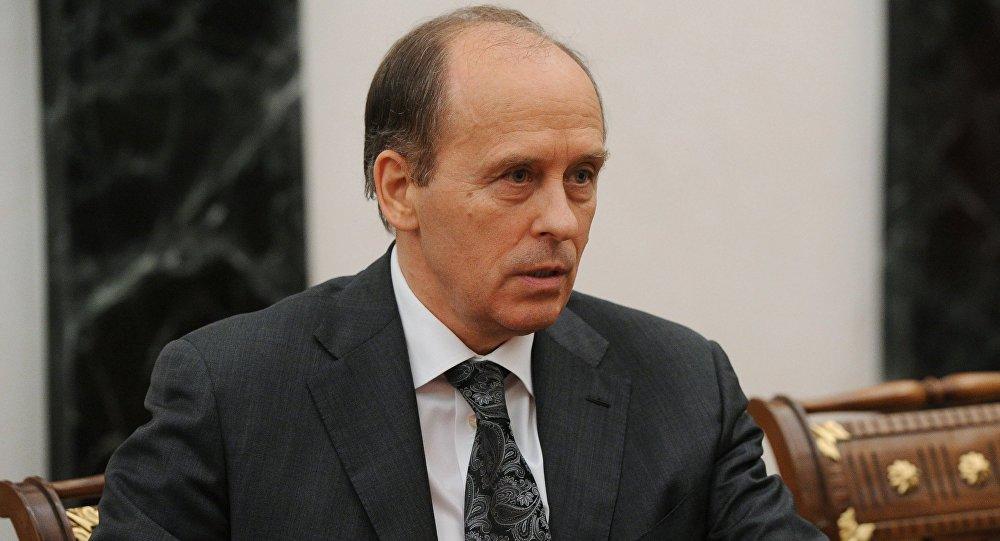 Директор ФСБ Александр Бортников на совещании президента РФ с постоянными членами Совета безопасности РФ в Кремле.