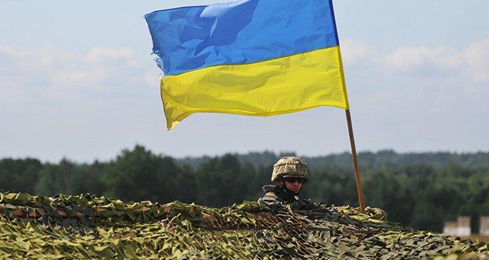 Украинский военный на международных командно-штабных учениях Rapid Trident