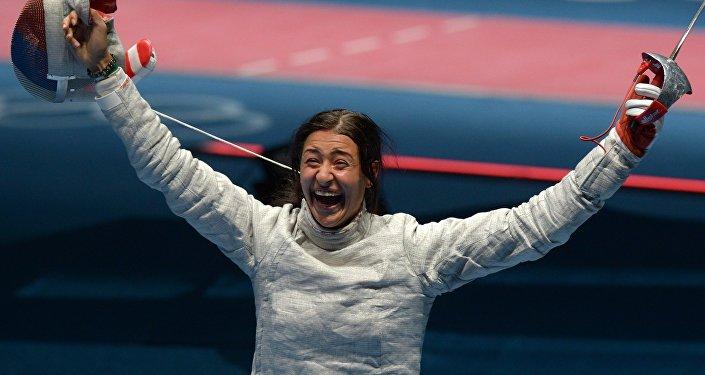 Яна Егорян после полуфинального поединка против команды США