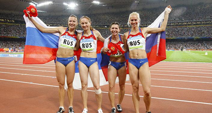 Российские спортсменки Юлия Чермошанская, Александра Федорива, Евгения Полякова, Юлия Гущина