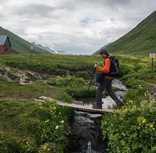 Турист в Кавказском государственном природном биосферном заповеднике