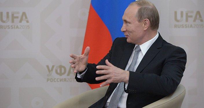 Президент Российской Федерации Владимир Путин во время встречи в Уфе с Президентом Республики Белоруссия Александром Лукашенко.
