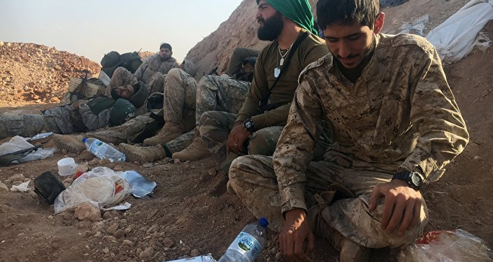 Бойцы сирийской армии и ополченцы на юге Алеппо