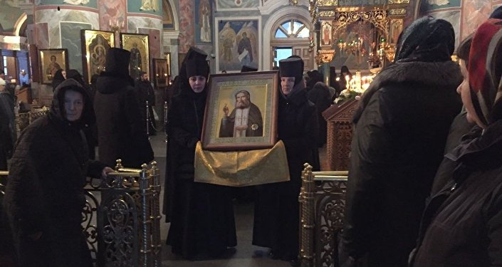 Икона с частицей мощей в Кафедральном соборе Георгия Победоносца
