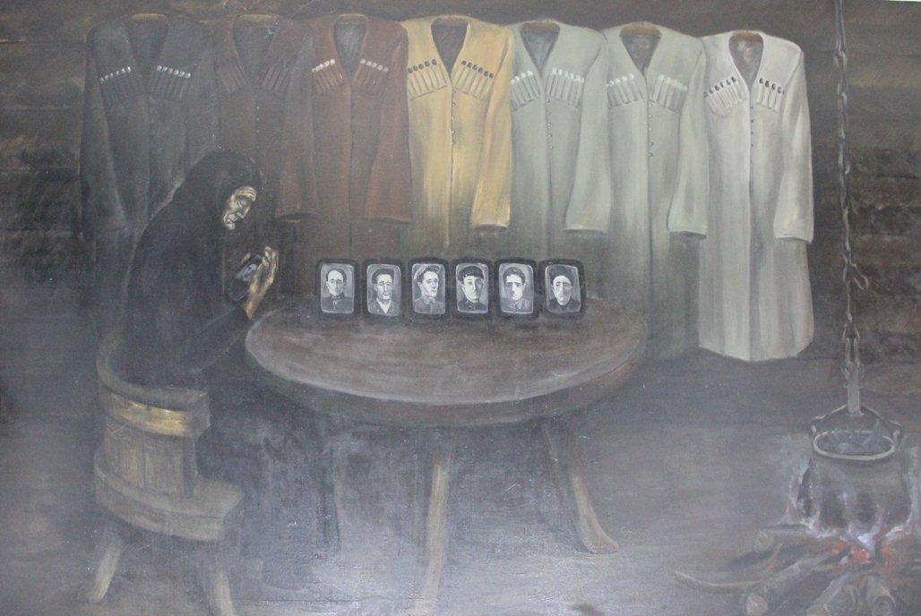 Работа художника Заура Козаева Семь черкесок