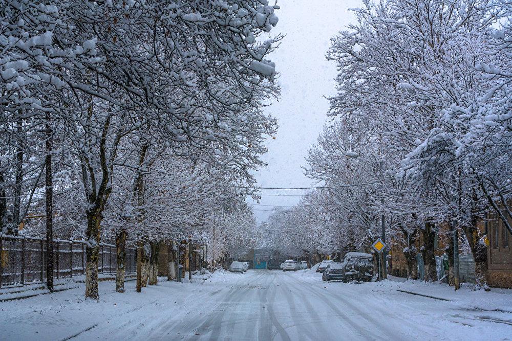 Уже первого декабря пошел снег, пока с дождем, а потом уже более сухой. Он накрыл и выбелил город.