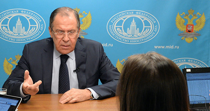 Глава МИД РФ Сергей Лавров во время интервью с главным редактором агентства Sputnik и телеканала RT Маргаритой Симоньян