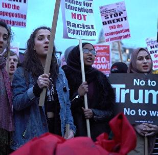Демонстрация в Лондоне против госвизита Трампа в Великобританию