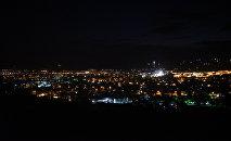 Вид сверху на вечерний Цхинвал