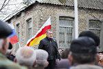 Анатолий Бибилов на митинге своих сторонников в Цхинвале