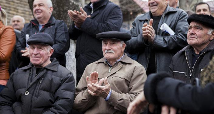 Митинг сторонников Анатолия Бибилова в Цхинвале