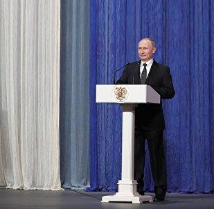 Президент РФ В. Путин посетил торжественный вечер, посвящённый Дню войск Росгвардии