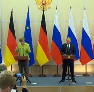 Совместная пресс-конференция Владимира Путина и Ангелы Меркель в Сочи
