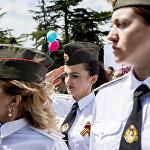 В параде участвует расчет женщин-военнослужащих Минобороны Южной Осетии