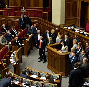 Депутаты на заседании Верховной рады Украины в Киеве