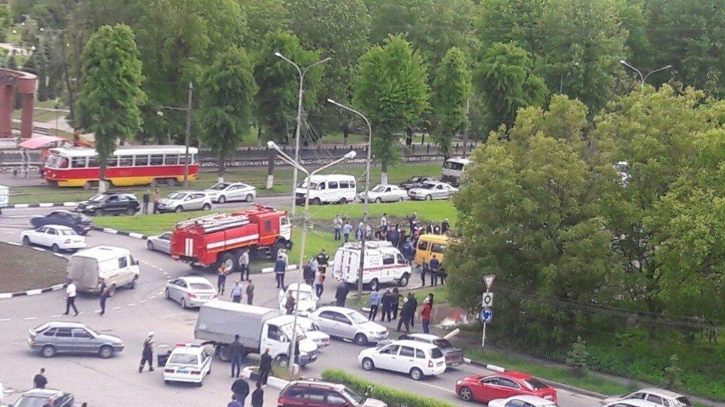 Место аварии во Владикавказе