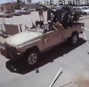 Нападение на авиабазу в Ливии. Съемка камеры слежения