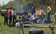Палаточный лагерь туристов