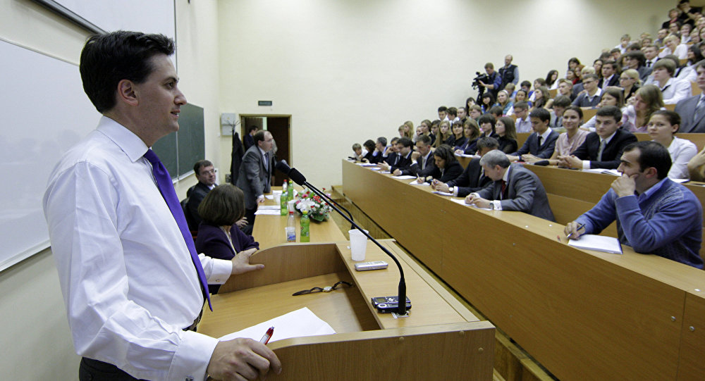 Министр по делам энергетики и изменения климата Великобритании Эд Милибэнд прочитал студентам МГУ лекцию