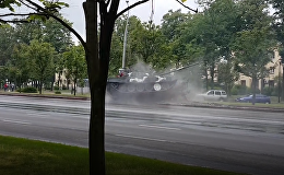 Танк врезался в столб на репетиции парада в Минске
