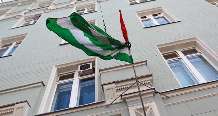 Флаг Абхазии, перевязанный черной лентой