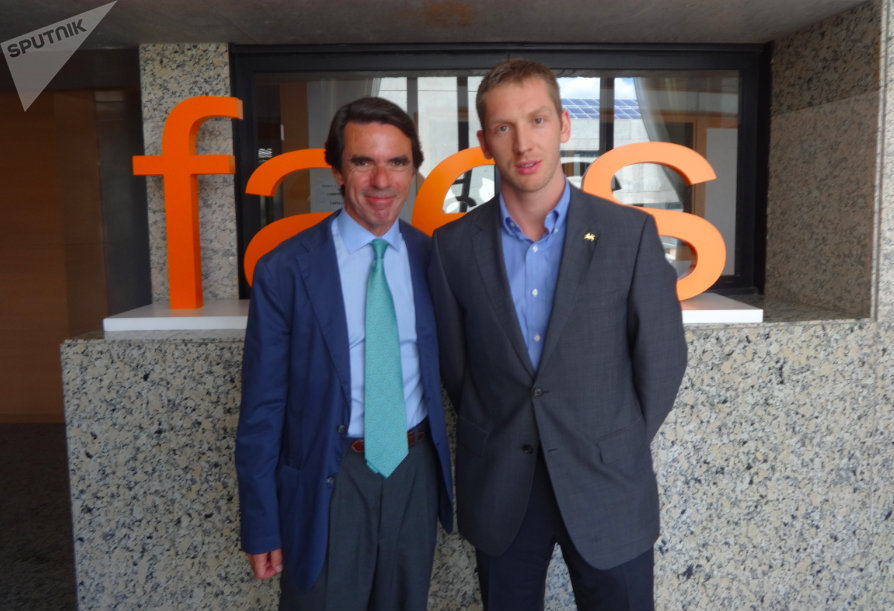 На встрече с Хосе Мария Азнаром премьер-министр Испании 1996-2004