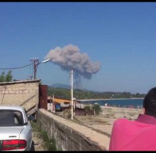 Кадры взрыва в селе Приморское