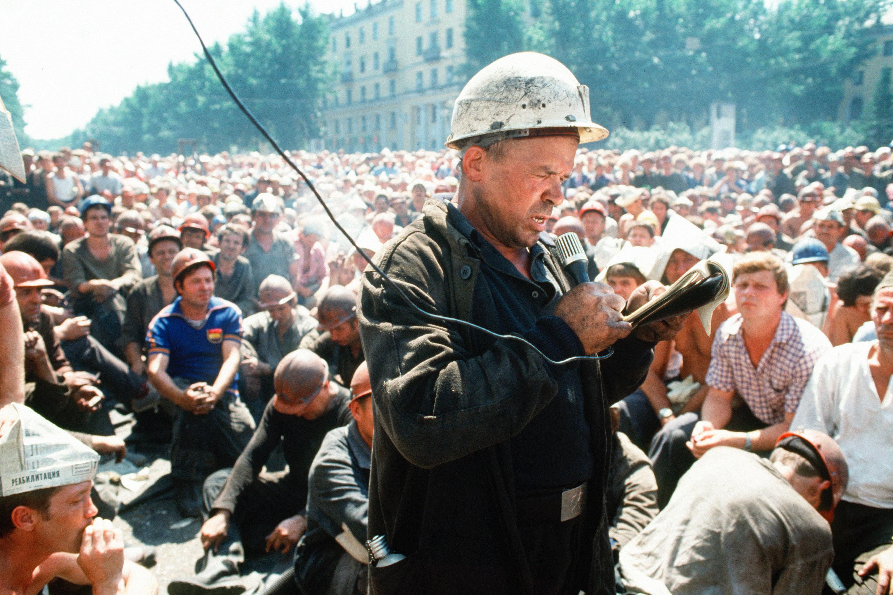 Забастовка шахтёров в Прокопьевске