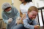 Работа прививочного кабинета детской поликлиники Калининграда