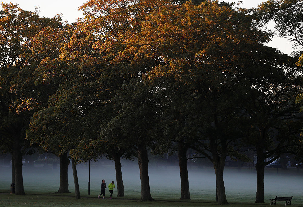 Женщины бегут туманным утром в Парке Виктории в Лестере, Великобритания.