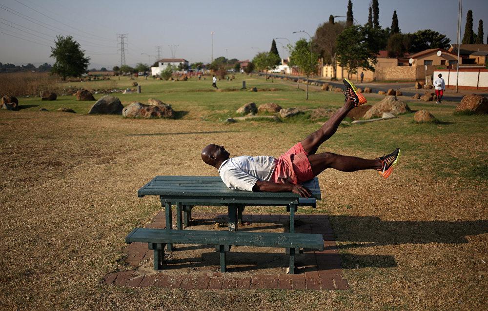 На площадке в Соуэто, ЮАР.