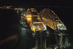 Автодорожную арку моста в Крым закрепили на проектной высоте. Съемка с дрона