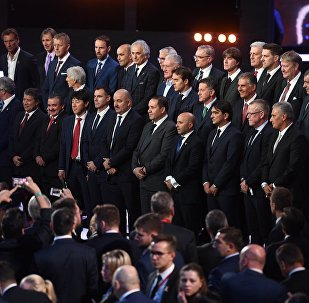 Тренеры стран-участниц на официальной жеребьевке чемпионата мира по футболу 2018