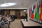 Президент РФ Владимир Путин на пресс-конференции по итогам заседания Совета глав государств СНГ