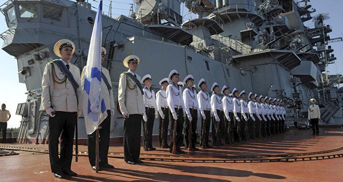 Заход ракетного крейсера Петр Великий в сирийский порт Тартус