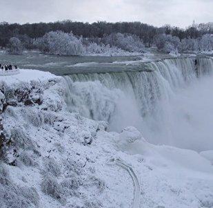 Вокруг Ниагарского водопада все вокруг покрылось инеем