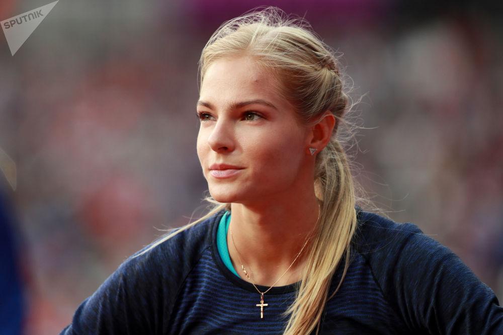 Дарья Клишина (АNA) в финальных соревнованиях по прыжкам в длину среди женщин на чемпионате мира 2017 по легкой атлетике в Лондоне.