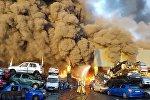 Мощный пожар охватил десятки машин у аэропорта Дублина