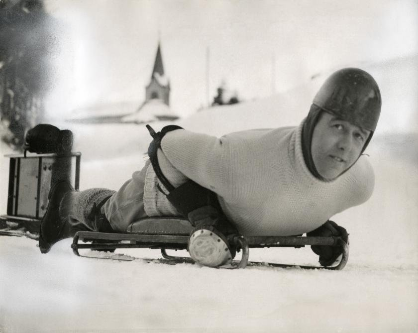 Скелетон: лорд Нортеск в Санкт-Мориц, Швейцария, 1935 год.