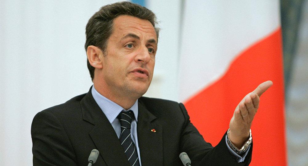 Президент Франции Николя Саркози во время пресс-конференции