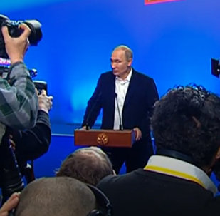 СПУТНИК_LIVE: Владимир Путин в избирательном штабе после окончания голосования